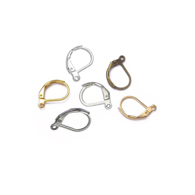 Kõrvarõnga konksud, 16 x 10mm. Kuldne, hõbedane, pronks. 10 tk