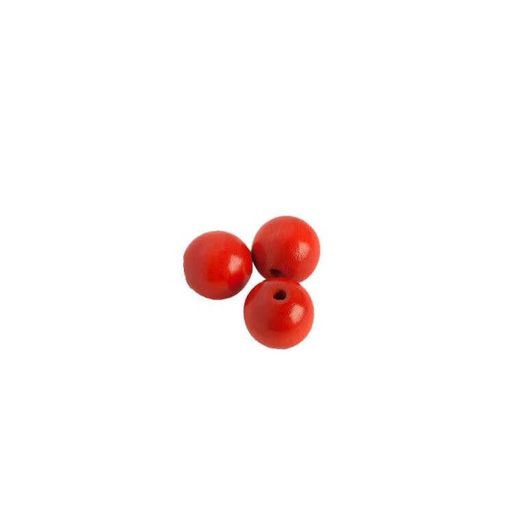 Punased, puidust pärlid, 15x15mm