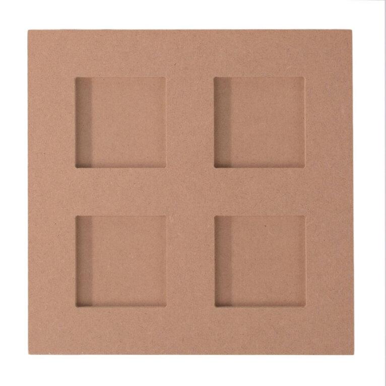 Pildiraam, MDF, 4 aknaga, 22×22 cm