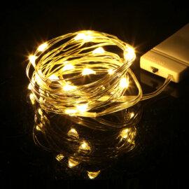 LED valgustraat patareidega, erinevad värvid, 2m – Helekollane