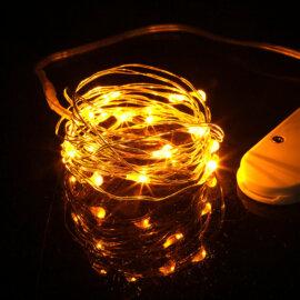 LED valgustraat patareidega, erinevad värvid, 2m – Kollane
