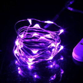 LED valgustraat patareidega, erinevad värvid, 2m – Lilla