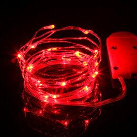 LED valgustraat patareidega, erinevad värvid, 2m – Punane
