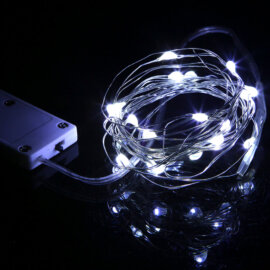 LED valgustraat patareidega, erinevad värvid, 2m – Valge