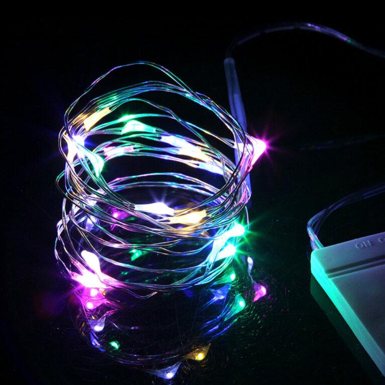 LED valgustraat patareidega, erinevad värvid, 2m – Värviline