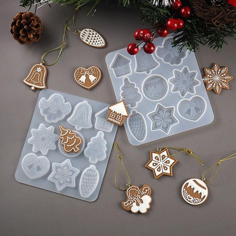 Jõulukaunistuste ja ripatsite valamise silikoonvorm