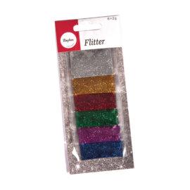 Glitterpuru komplekt, 6 x 2 g, värviline