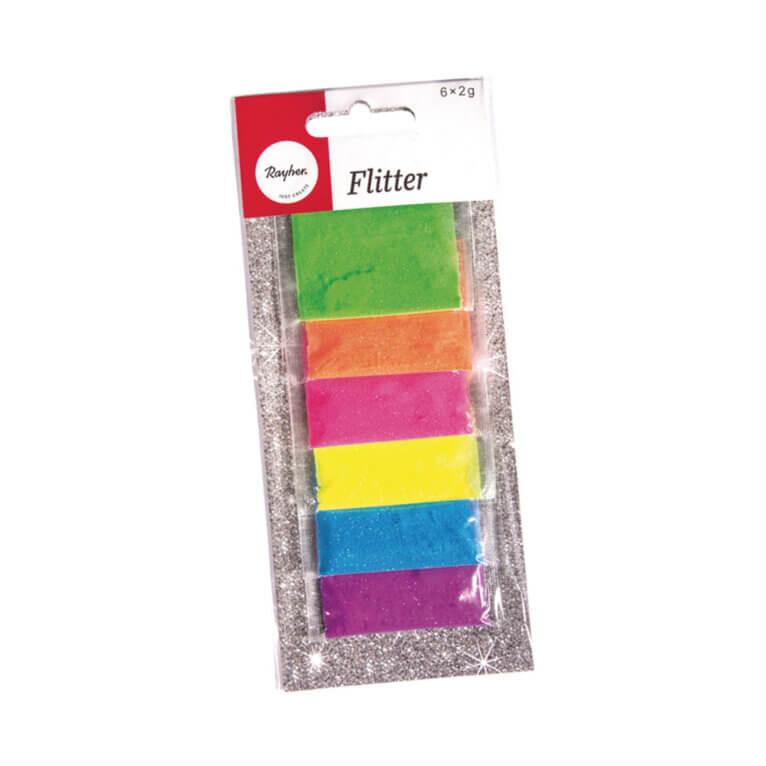 Glitterpuru komplekt, 6 x 2 g, neoon
